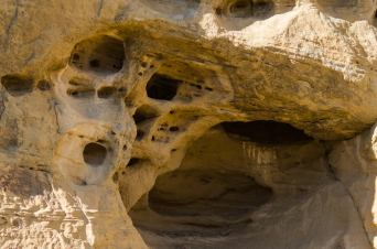 Wind produces intricate patterns in the soft sandstone of Cliff Dwellers Canyon. (Photo: Brian Alford)