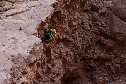 Nick Steele goes off the biggest drop in Badger Canyon. (Photo: Mag Kim)