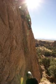 Sport climbing the granite at Cochise Stronghold. (Photo: Mag Kim)